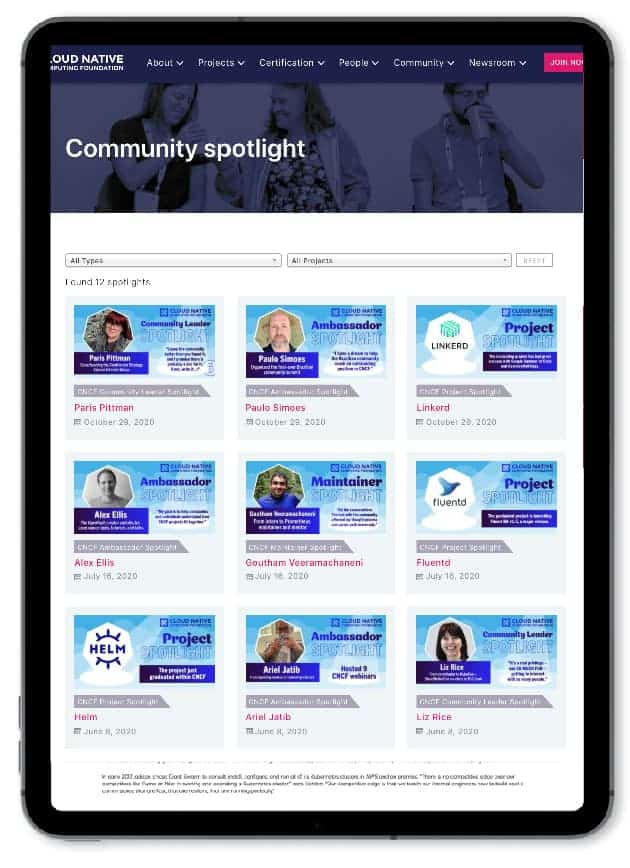 Web page example showing community spotlight